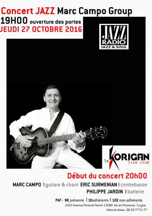 Marc Campo Group jazz instrumental & vocal at Le Korigan Aix